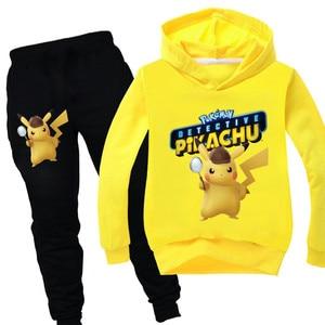 Cartoon Pikachu Kids Clothing Set Autumn Winter Boys Clothes Long Sleeve Outfit Cotton Tracksuit for Boy Hoodies+Pants 2pcs