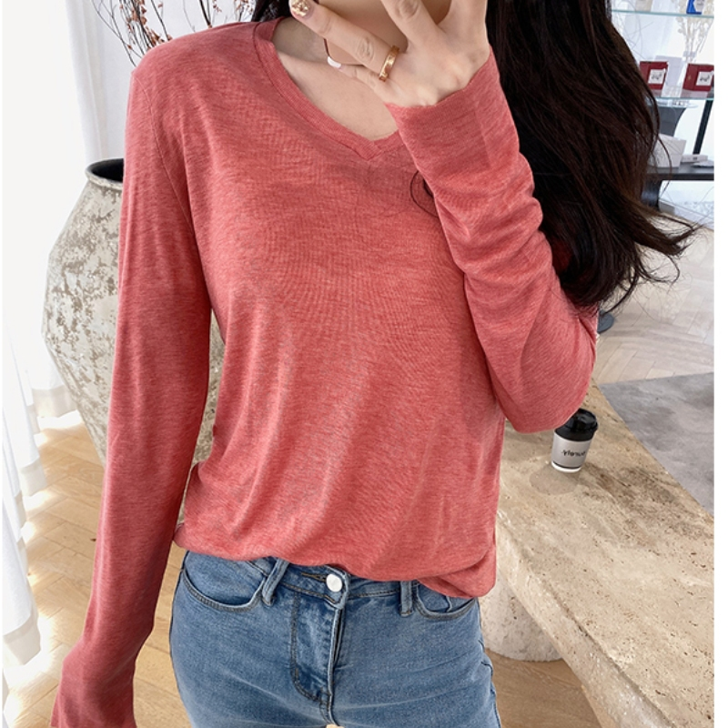 Women Tee shirt Long Sleeve V neck Casual girl Summer Tshirt 2020 fashion Autumn Tops lady Clothes Pullovers    - AliExpress