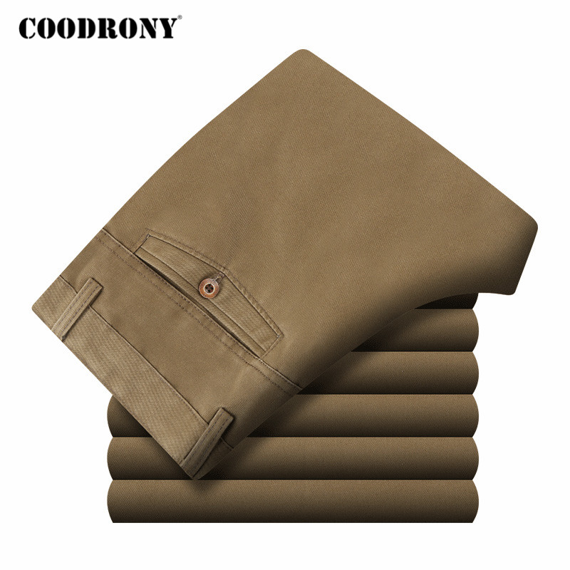 COODRONY Brand Mens Pants Spring Autumn Business Casual Straight Trousers High Quality 100% Pure Cotton Pant Men Clothing C9003
