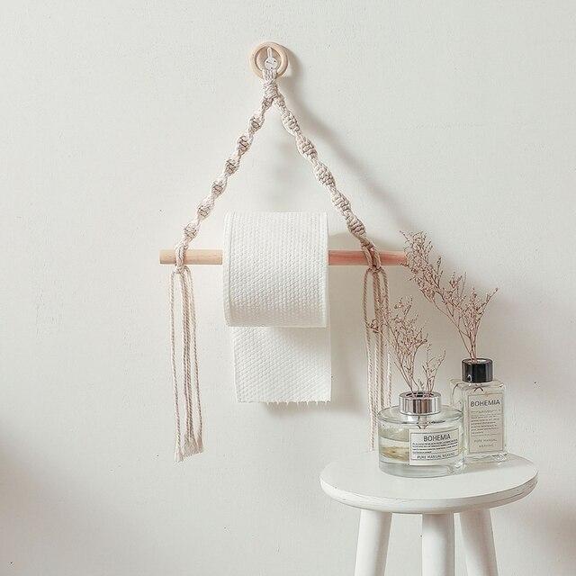Macrame Hanging Toilet Paper Dispenser 4