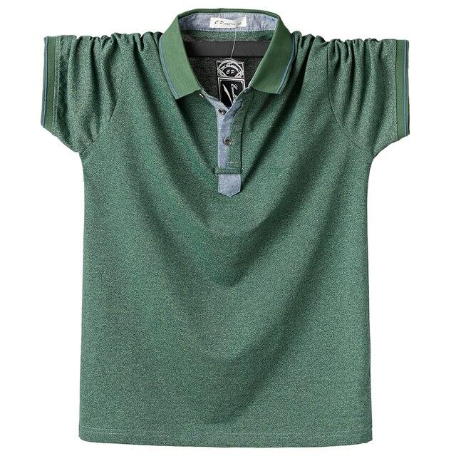 Summer Men Polo Shirt Mens Classic Solid Polo Shirts Cotton Shirt 6XL Large Size Casual Fashion Men Outwear Clothing Tops Tees 3
