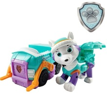 Paw Patrol new dog Everest puppy pull back music patrol car Patrulla Canina PVC doll toy action figure model cartoon  kid gift