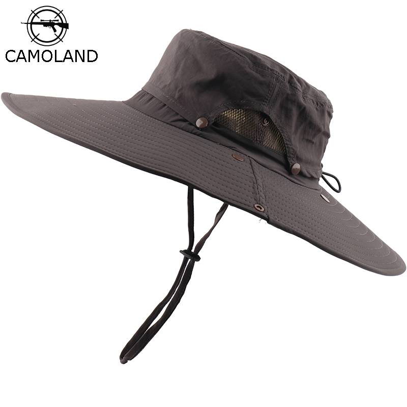 CAMOLAND Waterproof Boonie Hat Women Men Summer Sun Hat High Quality Beach Caps For Unisex Outdoor Hiking Fishing Bucket Hats