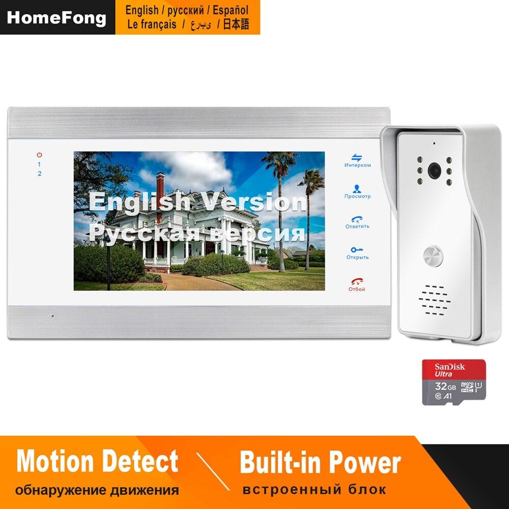 HomeFong Intercom Video Doorbell Wired 7inch HD Monitor 1200TVL IR Wide Angle Doorbell Camera Support CCTV Home Video Door Phone