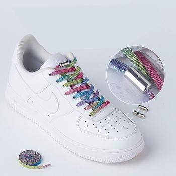 Modne nowe gumki blokujące buty płaska podeszwa bez sznurówek szybkie sportowe buty blokujące sznurowadła dla dzieci dorosłe damskie męskie koronki tanie i dobre opinie SMATLELF CN (pochodzenie) Poliester Drukuj Elastic Locking Shoelaces SZNUROWADŁA T3-5 Approx 100 cm (elastic and stretchable)