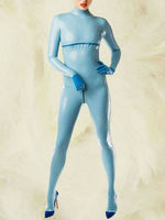 100% Latex Rubber Women Sexy Ligth blue Catsuit Tigth Overall Size S XXL