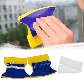1 Pair Glass Wiper Cleaner Removable Washable Cleaning Window Magnetic Surface Cleaner Wiper Glass Brushes Tools Double-sided east super strong magnetic 16 35mm double sided window cleaner adjustable glass wiper magnet glazing cleaning tools h400
