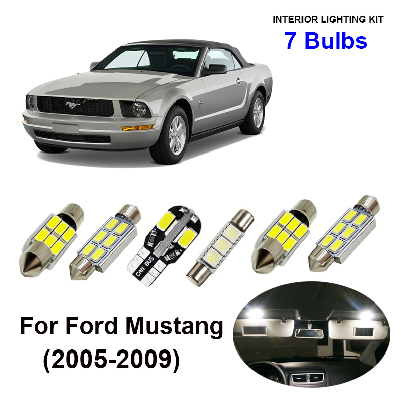 7pcs White Canbus Car Accessories LED Interior Light Bulbs Kit For 2005-2009 Ford <font><b>Mustang</b></font> Map Trunk Door License Plate Lamp image