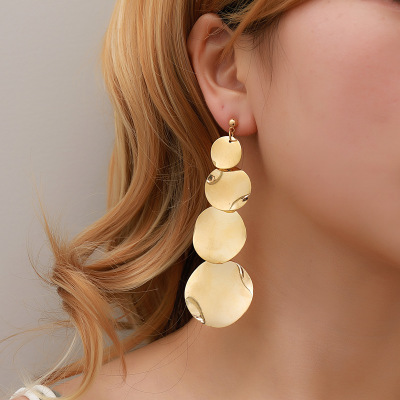 NEW Exaggerated Metal Dangle Earrings Female