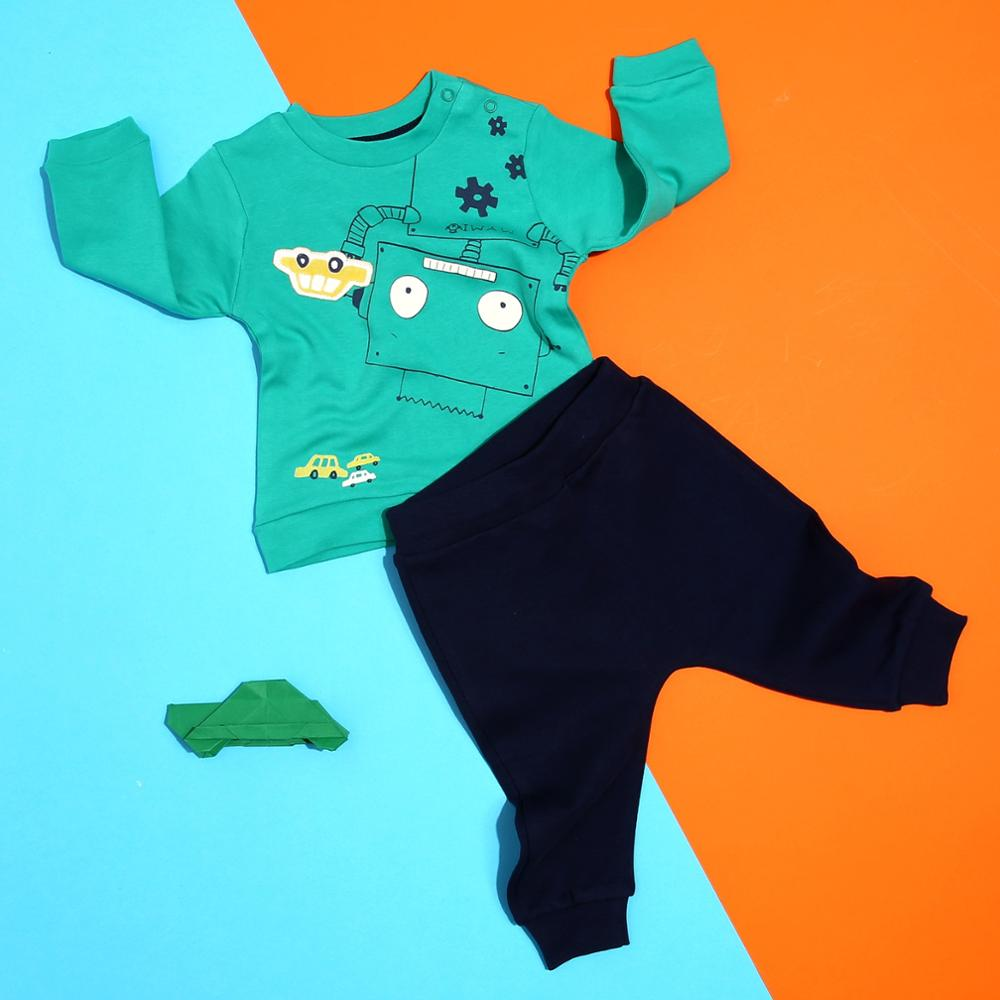 Ebebek Mymio Robot Babies Sweatshirt Trousers Set Long Sleeve Baby Boy Clothes Cotton Pullover Cotton O-Neck Regular