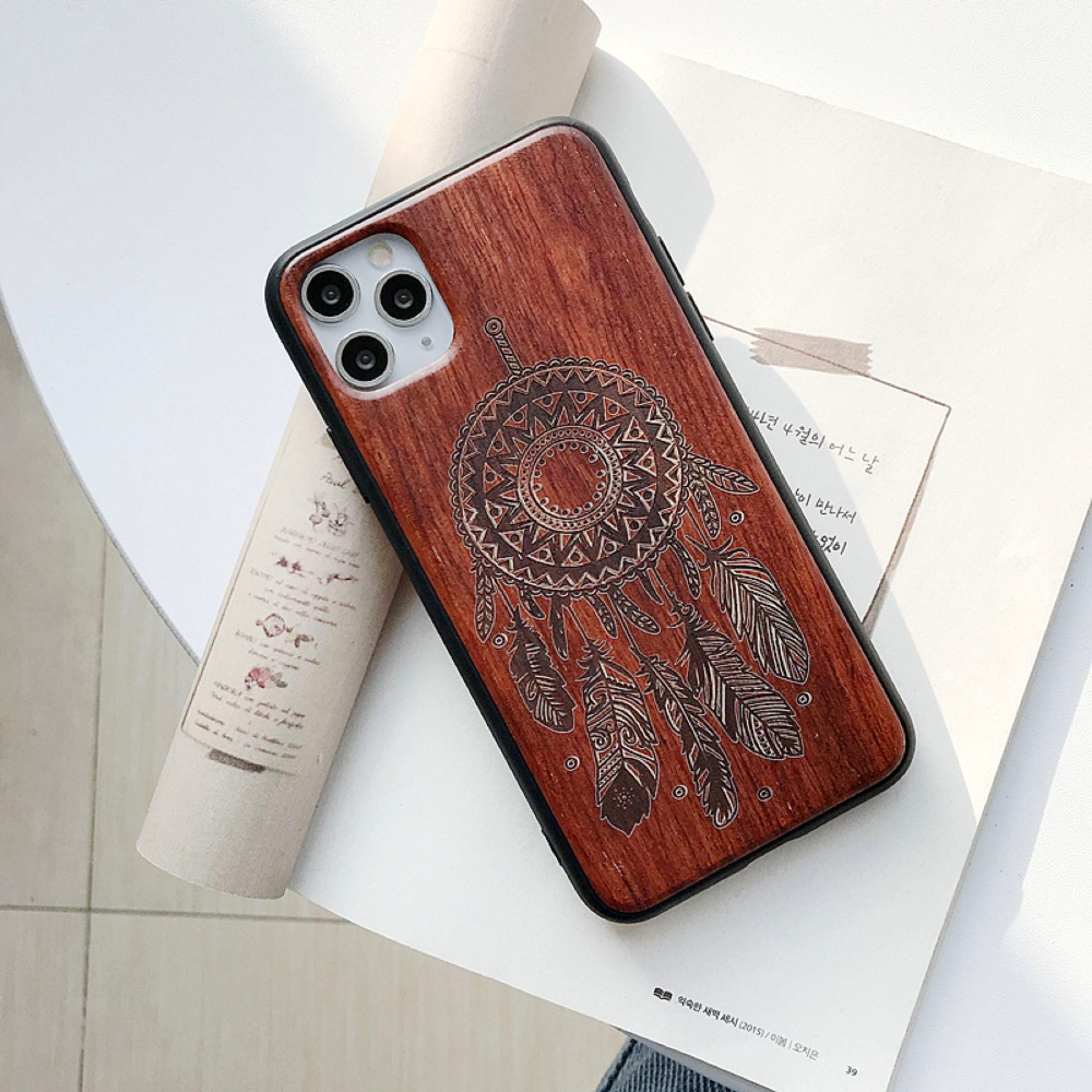 Natural Laser Carving Wooden Phone Case For iPhone 12 Pro Max 4