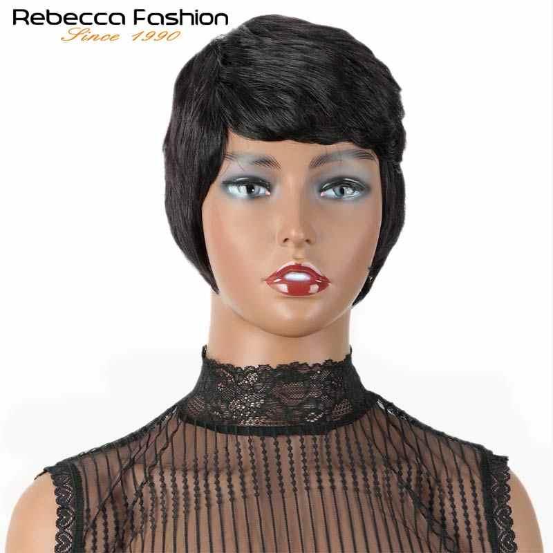 Rebecca Korte Schattige Pixie Cut Pruiken Steil Haar Peruaanse Remy Human Hair Pruik Voor Vrouwen Volledige Pruik Zwart Rood Grijs dhl Snelle Verzending