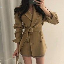 Autumn Spring Woman slim woolen  Coat Suit Jacket with belt