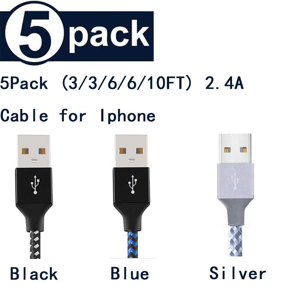 5Pack (3/3/6/6/10FT) untuk Penerangan Kabel USB Charger Tali Hi-Tarik Kabel USB Pengisian untuk Apple iPhone X Max XR X 7 6 6 S PLUS
