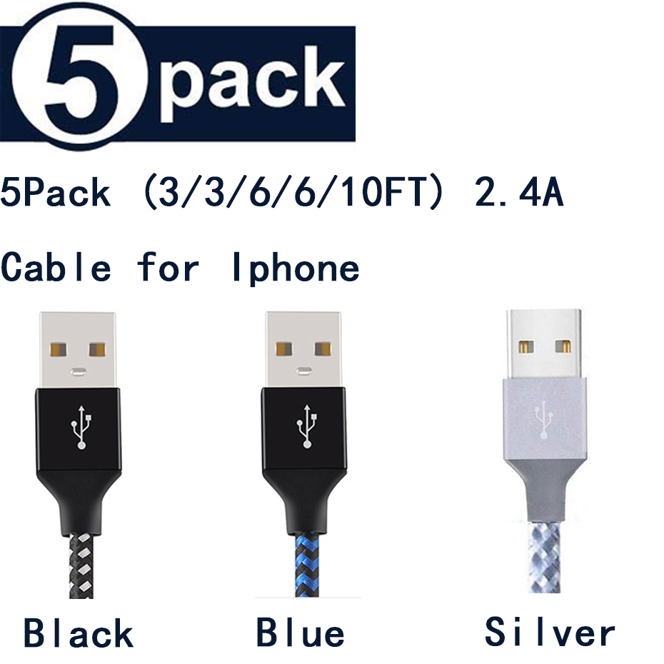 5Pack (3/3/6/6/10FT) for iphone Cable Lighting Cable for iphone XS MAX XR X Charging Cord for iphone 8 7 USB Cable Charger Cable|Mobile Phone Cables| |  - title=