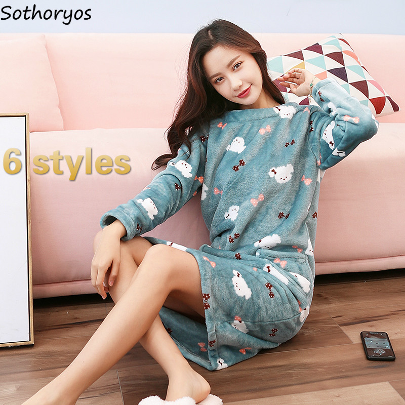 Flannel Velvet Nightgowns Women Sleepshirt Cute Sweet Homewear For Womens Chic Harajuku Fashion Loose Soft High Quality Ulzzang