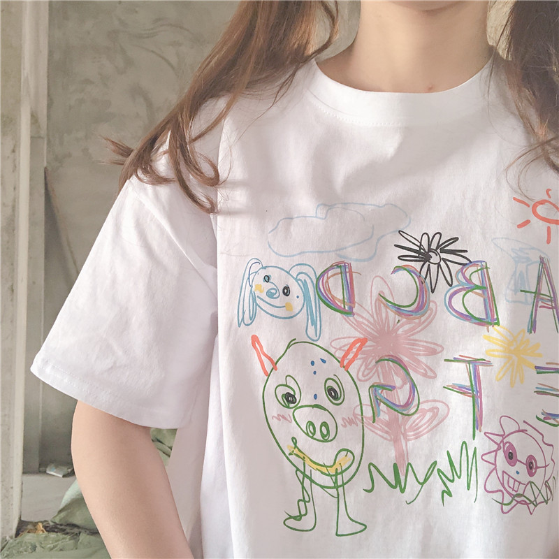 Милая Повседневная белая футболка с рисунком граффити, женская летняя футболка с коротким рукавом, Новый Свободный пуловер в стиле Харадзю...