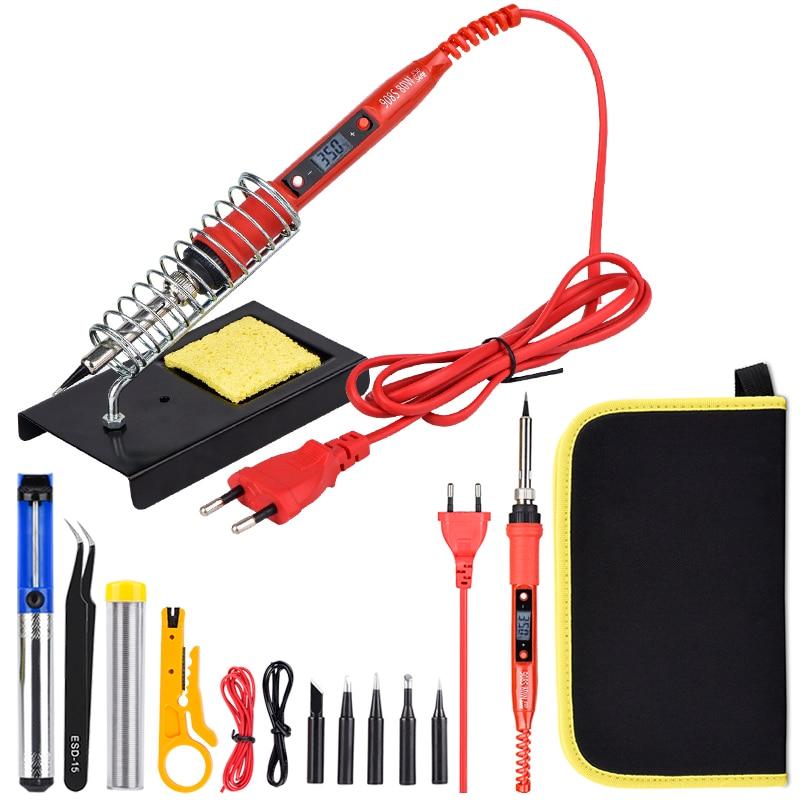 JCD 80W 220V 110V Soldering Iron Adjustable Temperature LCD Digital Ceramic Heating Element Soldering Iron Kit With Solder Tip