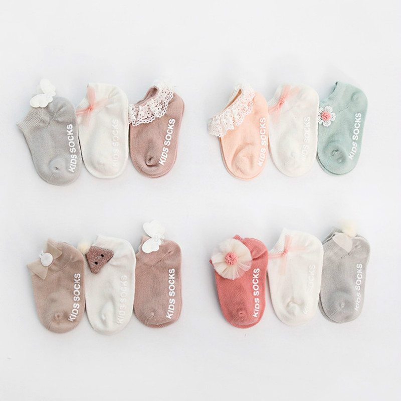 3 Pairs Newborn Ankle Socks Cute Toddler Cotton Anti-slip Floor Sock Baby Girls 3D Ruffled Bowknot Flower First Walker Socks