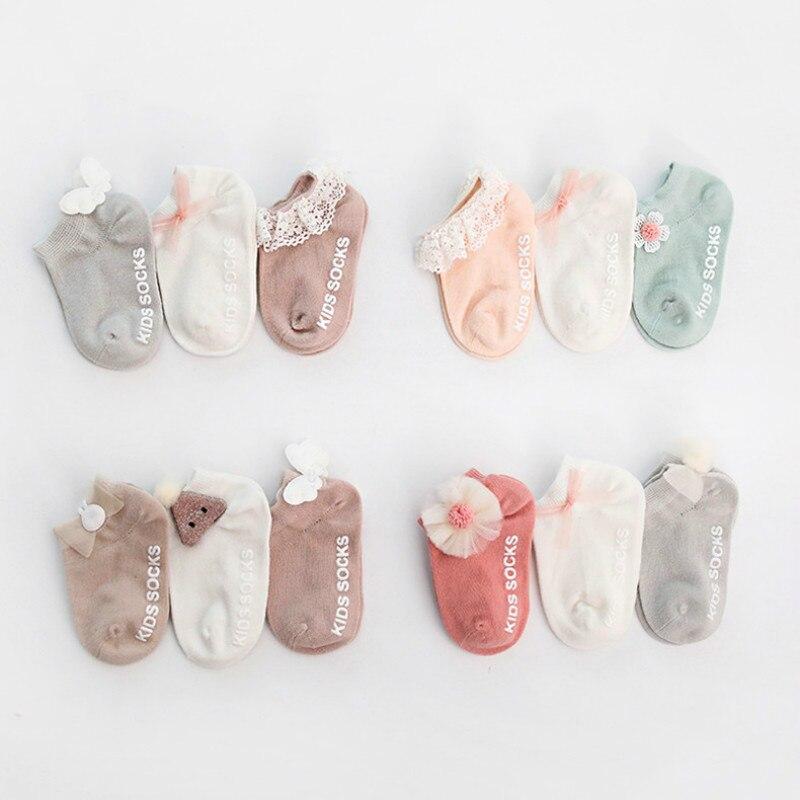 3 Pairs Newborn Ankle Socks Cute Toddler Cotton Anti-slip Floor Sock Baby Girls 3D Ruffled Bowknot Flower First Walker Socks