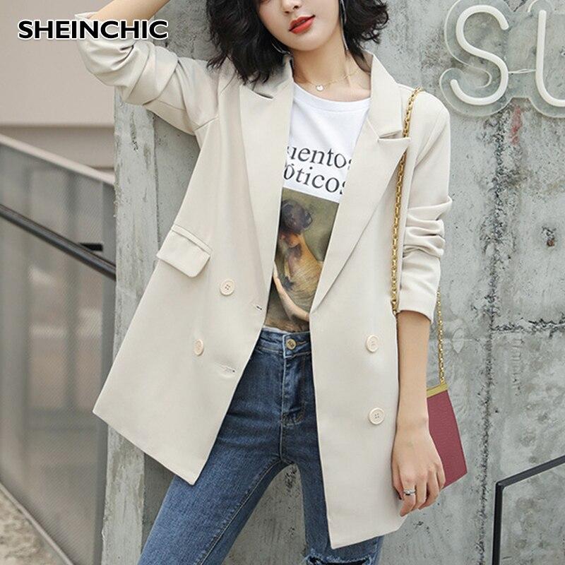 2019 Korean Fashion Office Lady Beige Blazers Women Slim Turn Down Collar Blazer Mujer Retro Button Casual Suit Jackets Autumn