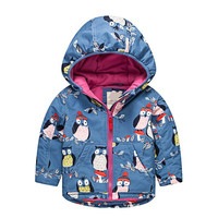 2019 Autumn Outfit New Boys and Girls with Hooded Windbreaker and Cute Owl Penguin Fleece Lining Hooded Outwear Jacket for Boys
