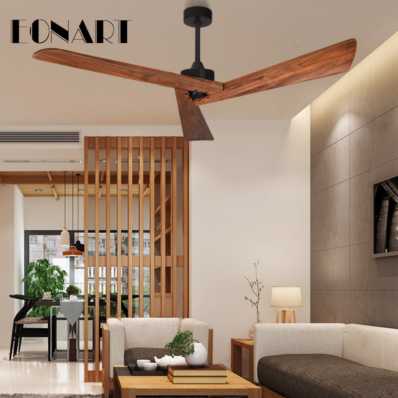2019 Fashion 60 Inch Without Light Ceiling Fans For Home Modern Roof Decoration Solid Wood Dc Motor Indoor Ceiling Fan With Remote Control Reliable Performance