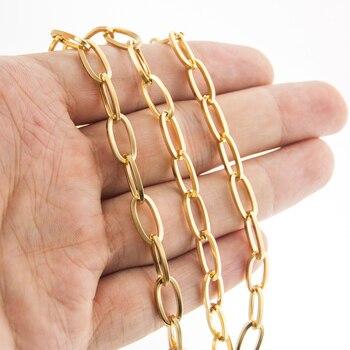 Cadena de eslabones de acero inoxidable para fabricación de joyas, cadena ovalada...