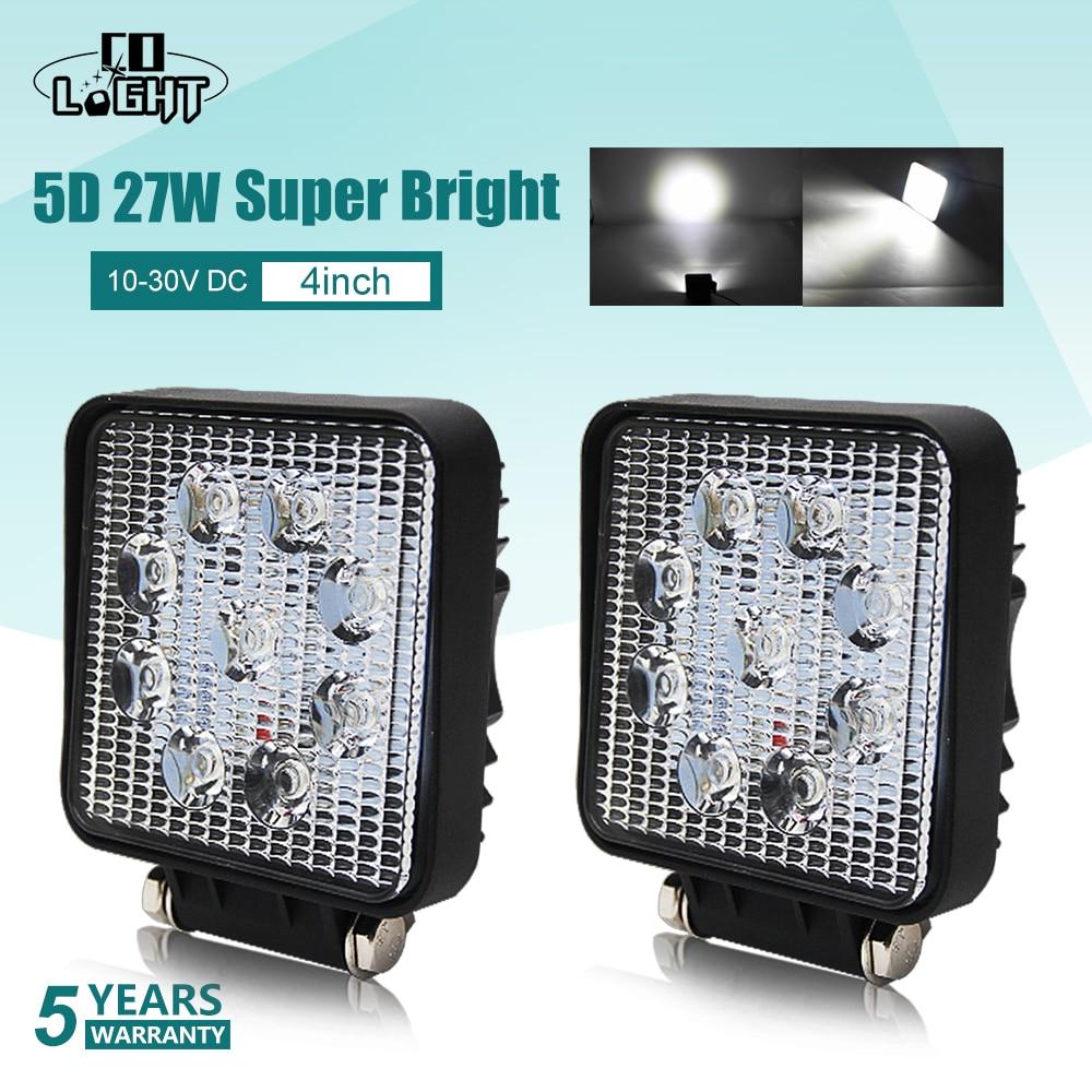 CO lumière 5D Led travail lumière barre 27W 4 pouces Offroad voiture phare pour camions tracteur bateau remorque 4x4 SUV Led conduite lumière 12V 24V