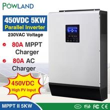 450Vdc 5000W falownik solarny 80A MPPT falownik równoległy 48V 230V czysta fala sinusoidalna hybrydowy falownik 80A ładowarka micro inverte