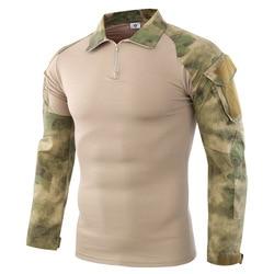 Tactical Camouflage Military T Shirt Men Multicam US Army Combat Shirt Assault Camo Militar Uniform Airsoft Long Sleeve T Shirt