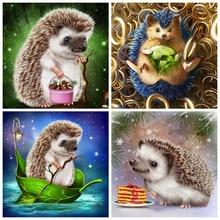 Huacan Diamond Painting 5d Hedgehog Handmade Gift Mosaic Cross Stitch Animal Embroidery Cartoon Home Decor