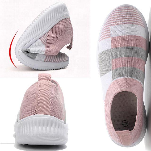 Vulcanizado sapatos tênis feminino formadores tênis de malha senhoras deslizamento-na meia sapatos de cristal sparkly zapatillas mujer casual 4