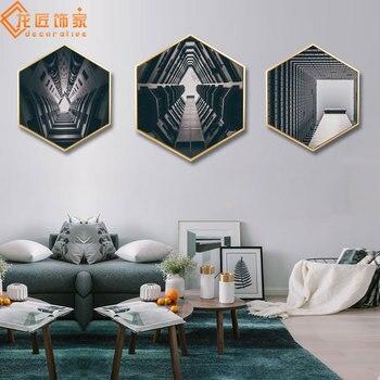 Longg Decorato Casa Geometria Architettura Pittura Con Il Telaio Nuovo Stile Astratto Appeso Pittura Hotel Camera Modello Scandinavo
