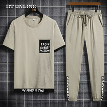 Conjuntos de moda masculina verão novo 2 pc esporte terno harajuku impressão tshirt + calças casuais esportivas fitness jogger treino masculino
