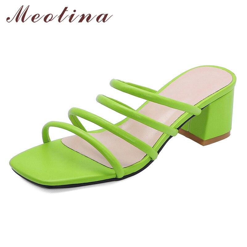 Meotina chinelos de verão sapatos femininos moda praça sapatos de salto alto sapatos de alta qualidade dedo do pé aberto sandálias das senhoras mais tamanho 33-46