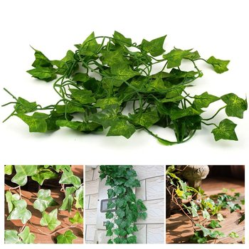 200cm Hanging Artificial Green Leaf Garland Plants Ivy Vine Foliage Plastic Plants For Home Decoration Garden Party Decor Hot! 2m artificial ivy green leaf garland plants vine fake foliage flowers home decor plastic artificial flower rattan string outdoor