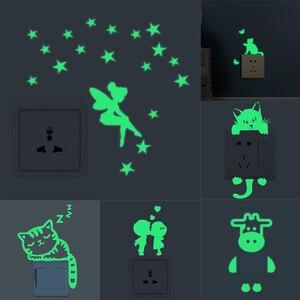 Luminous Cartoon Switch Sticker Glow in Dark Cat Stars Sticker Home Kids Room Decor Decal Cat Fairy Moon Star Wallpaper TXTB1