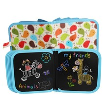 14-page book Children's Drawing small Blackboard Light Painting Board Portable Primary school students erasable Painting Board busy town board book page 2 page 2