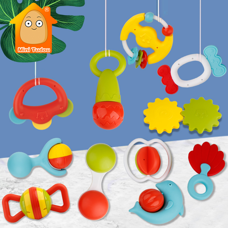 12PCS Baby Rattle Toys Teething Plastic Hand Bell Game Educational Soft Rubber Teether Set Montessori Toy For Infant 0 12 Months