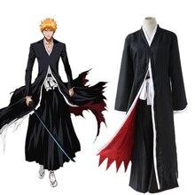 Hot Bleach Kurosaki Ichigo Robe Black Cloak Coat Japanese Anime Cosplay Costume