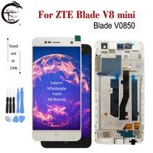 """5 """"LCD ile çerçeve için çerçeve ile ZTE Blade V8 mini V0850 LCD ekran dokunmatik ekran sensörü sayısallaştırıcı tam meclisi V8mini ekran değiştirme"""
