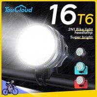16 * T6 전면 자전거 라이트 led 18650 배터리 방수 헤드 라이트 자전거 랜턴 사이클링 핸들 손전등 야간 승마