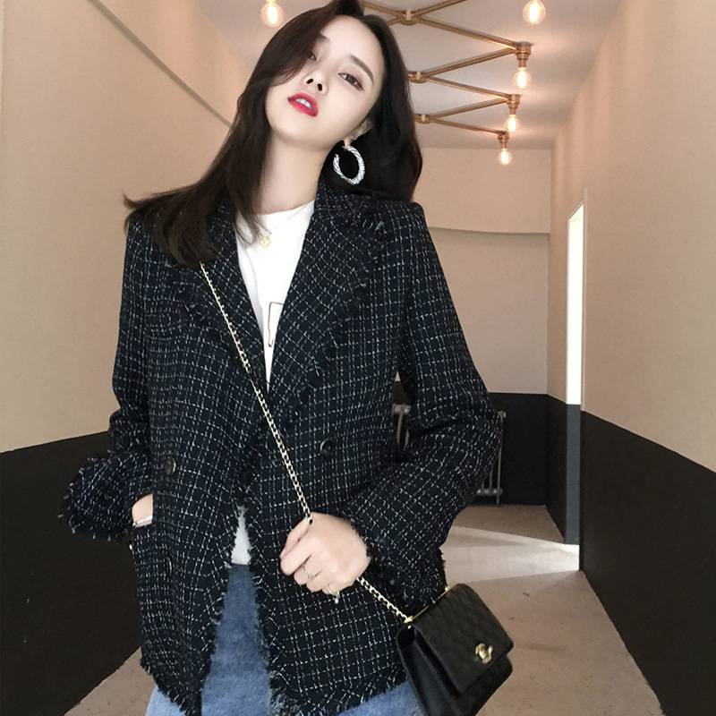 Women Blazers And Jackets  Plaid Blazer  Korean