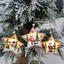 Christmas decoration beautifully luminous five-pointed star wood Santa Claus snowman elk hanging ornamentschristmas decorations