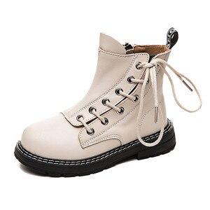 Image 2 - 첫 번째 레이어 소 가죽 소년 소녀 부츠 정품 가죽 어린이 짧은 부츠 가을 겨울 따뜻한 단일 부츠 어린이 가죽 신발