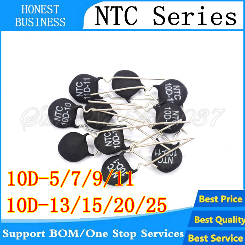 10PCS/lot NTC10D-5 NTC10D-7 NTC10D-9 NTC10D-11 NTC10D-13 NTC10D-15 NTC10D-20 NTC10D-25 DIP-2 Thermistor In Stock