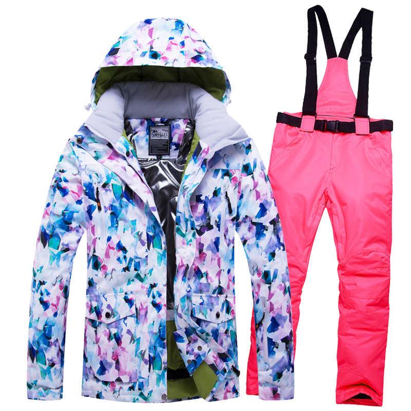 Trượt Tuyết mùa đông phù hợp với Phụ Nữ Và Nam Giới Cao cấp Trượt Tuyết Áo Khoác + Quần Tuyết Mưa Chống Thấm Nước Ấm Áp Chống Gió Trượt Tuyết Trượt Ván Trên Tuyết Nữ Trượt Tuyết phù hợp với