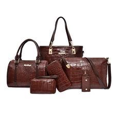 6pcs/set Alligator Pattern Shoulder Handbags Clutch Leather Women Card