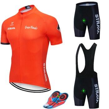 2019 STRAVA Ciclismo Jersey conjunto verano Ropa para bicicleta de montaña profesional...